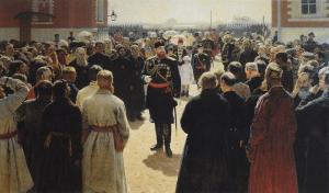 1883: Der Zar zerstreut Gerüchte im Gespräch mit Dorfältesten